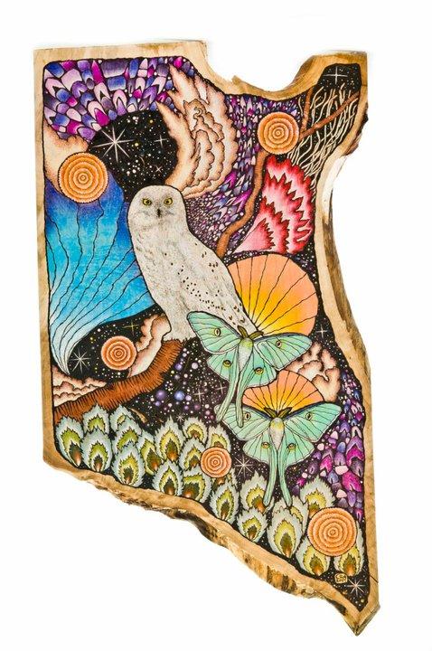 Luna Moths and Owl